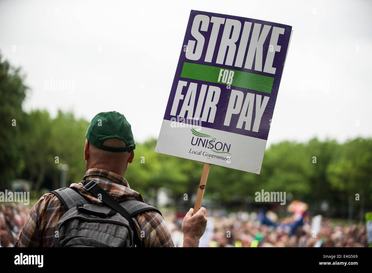 Brighton, UK. 10th July 2014. Public sector workers march to The Level in Brighton for the 10th July National strikes, - Stock Image