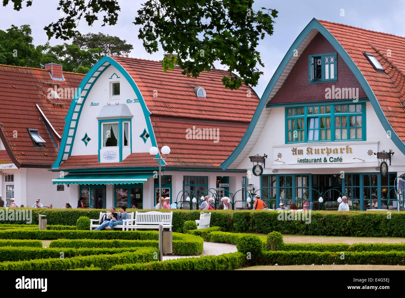 Restaurants and cafés in traditional style at Boltenhagen, seaside resort along the Baltic Sea, Mecklenburg - Stock Image