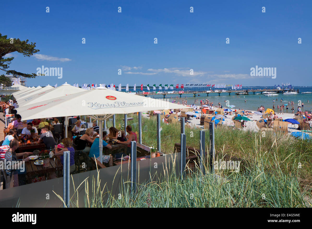 Café at Scharbeutz, seaside resort along the Baltic Sea, Ostholstein, Schleswig-Holstein, Germany - Stock Image