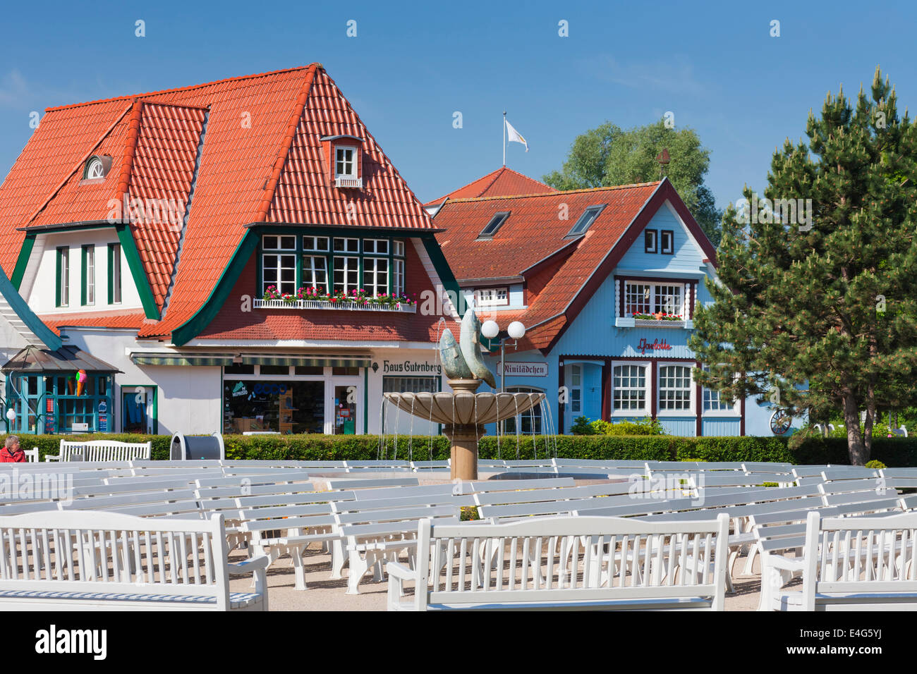 Shops in traditional style at Boltenhagen, seaside resort along the Baltic Sea, Mecklenburg-Vorpommern, Germany - Stock Image