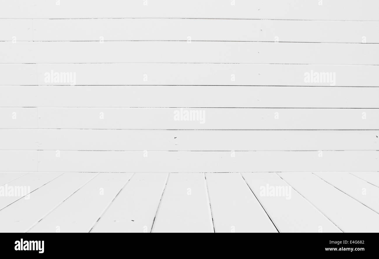 High resolution White wooden wall background - Stock Image