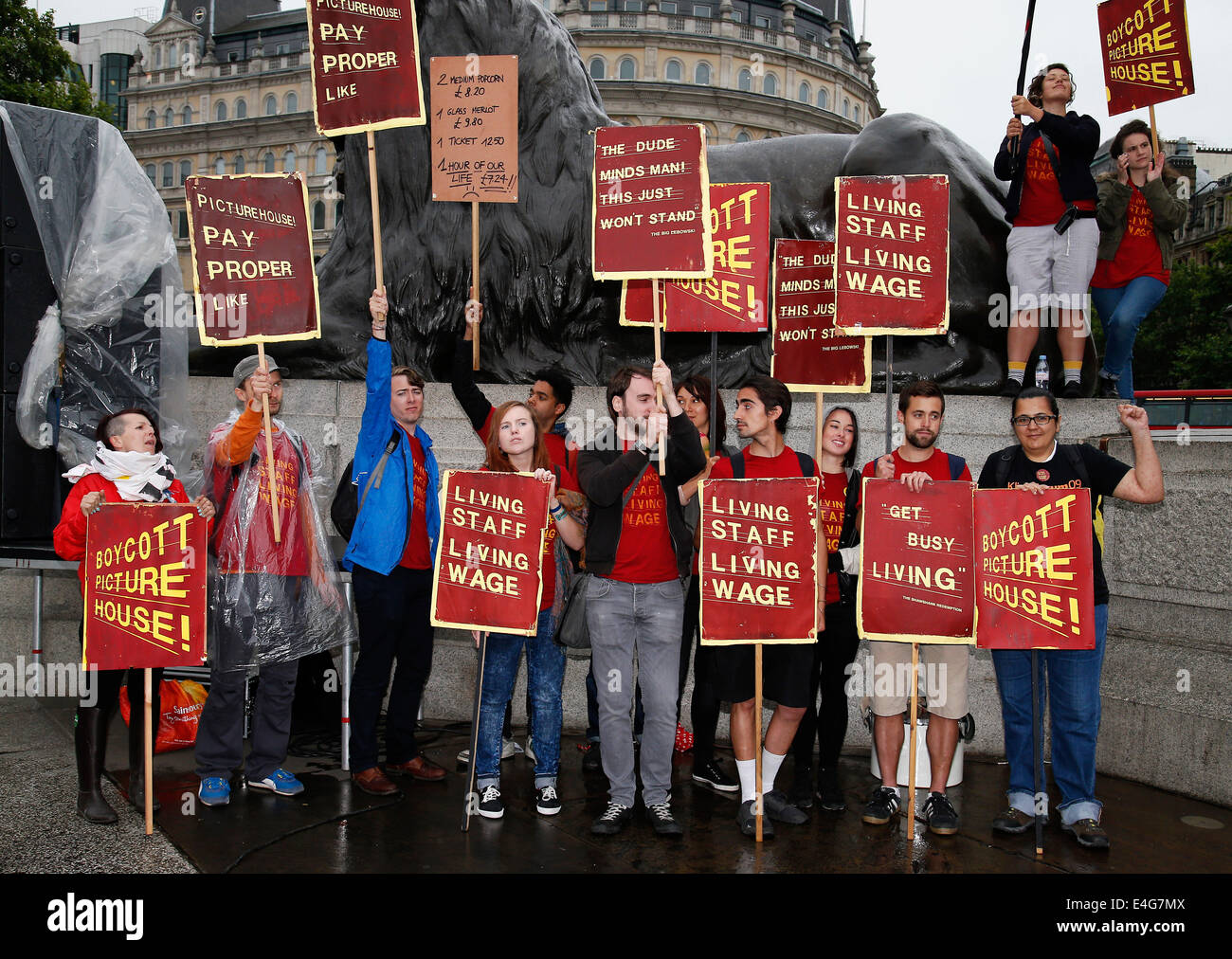 Members of Ritzy Cinema demonstrate for all staff to earn at least the London Living Wage in London. 10.07.2014. - Stock Image