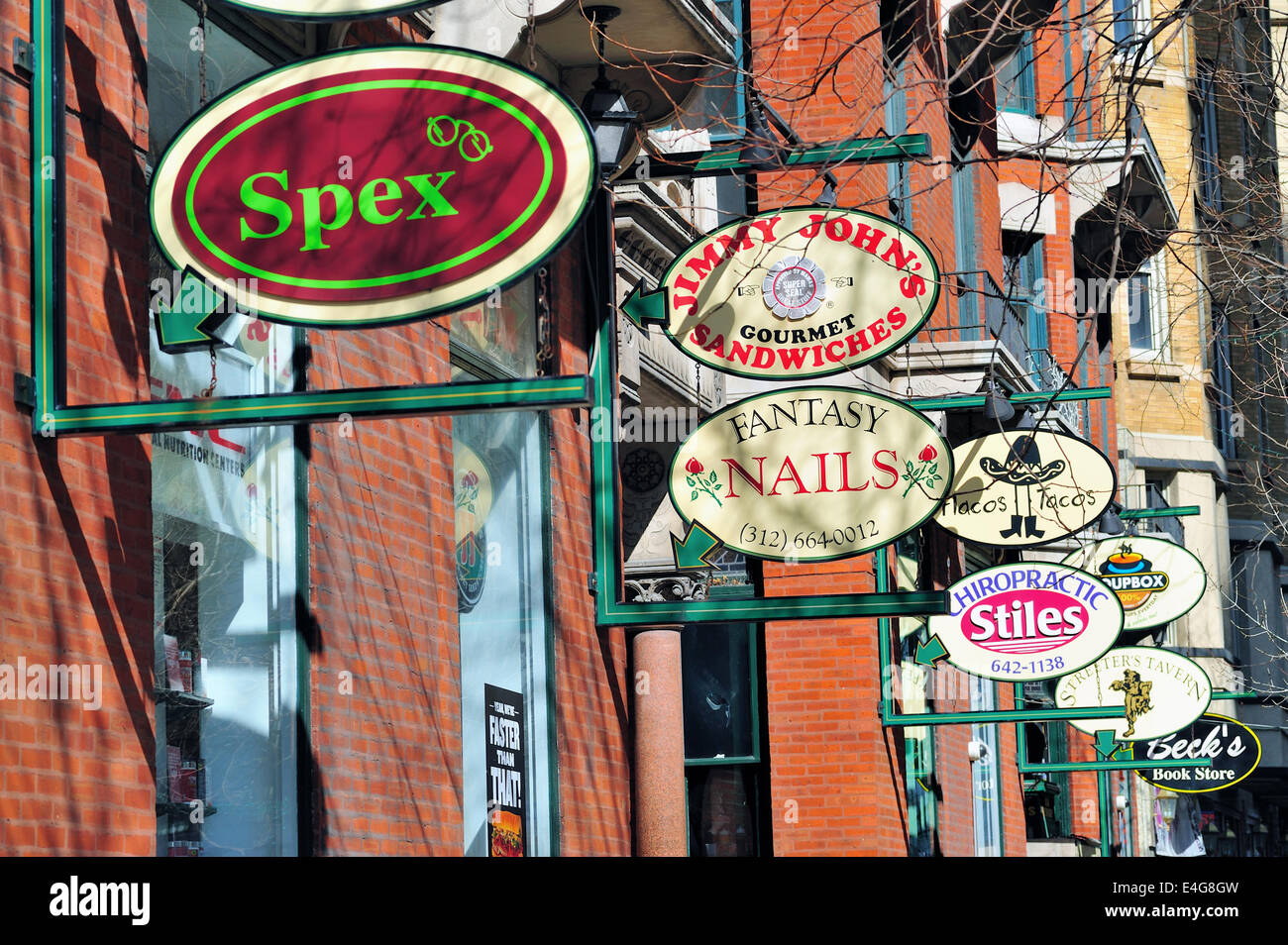 USA Illinois Chicago Signs of trendy and upscale stores Chicago ...