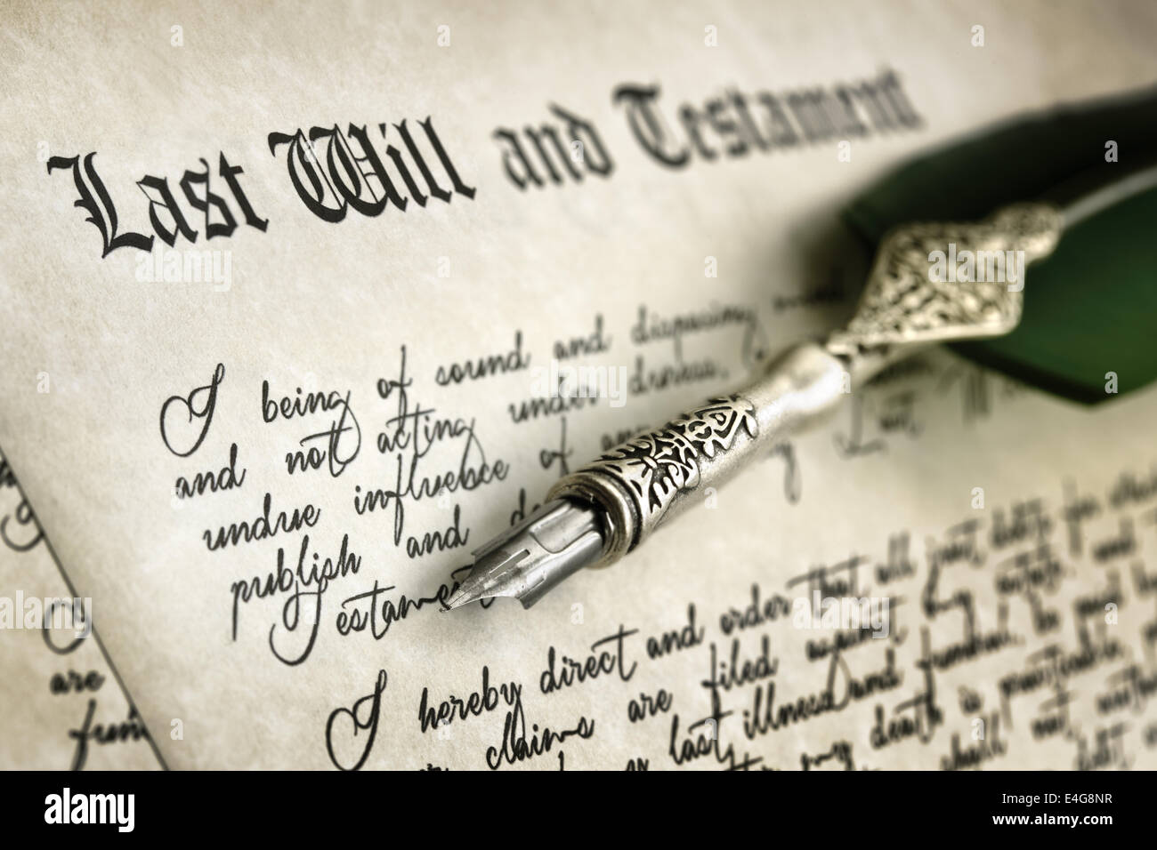 Signing Last Will and Testament - Stock Image