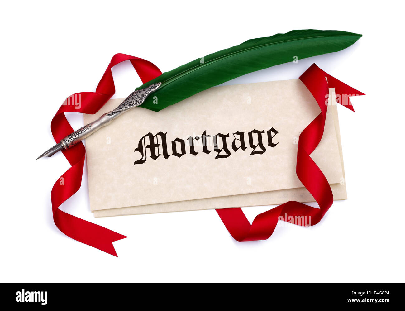 Mortgage document papers and quill pen - Stock Image
