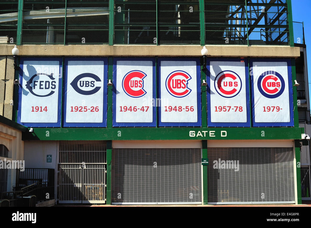 USA Illinois Chicago Wrigley Field 100th anniversary first opened to baseball on April 23, 1914 stadium's exterior - Stock Image