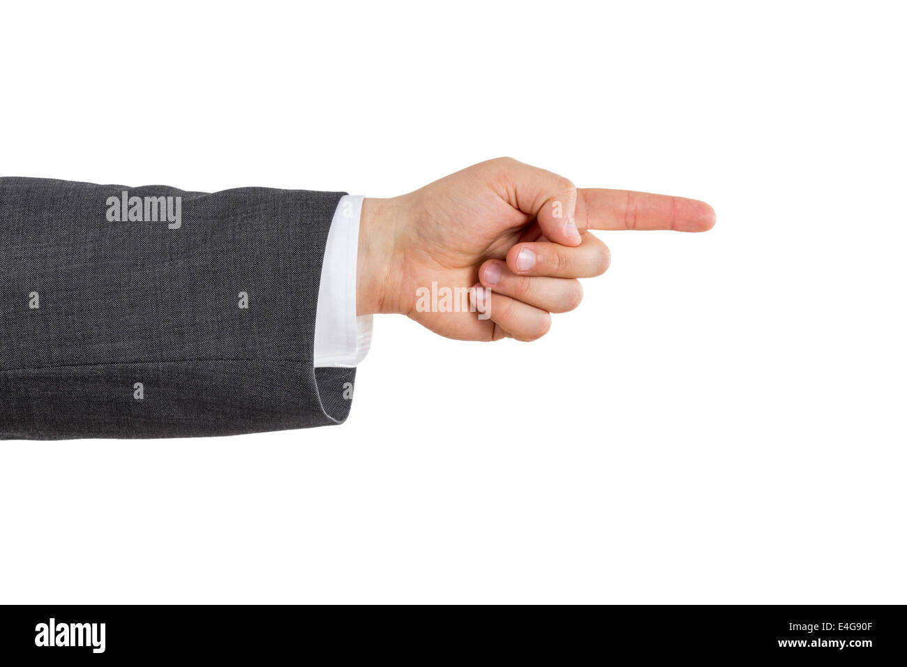 isolated arm of a business man pointing with his index finger - Stock Image