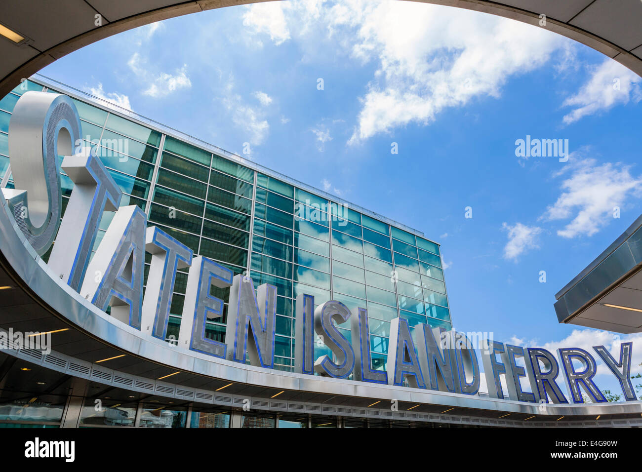 Entrance to the terminal on the Lower Manhattan side of the Staten Island Ferry, New York City, NY, USA - Stock Image