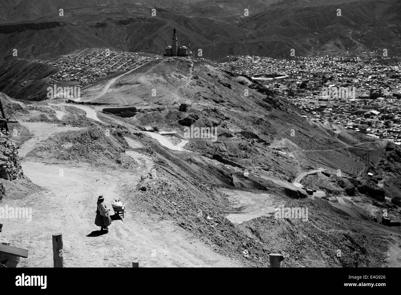 Mineworkers in Potosi, Cerro Rico, Bolivia, black and white - Stock Image