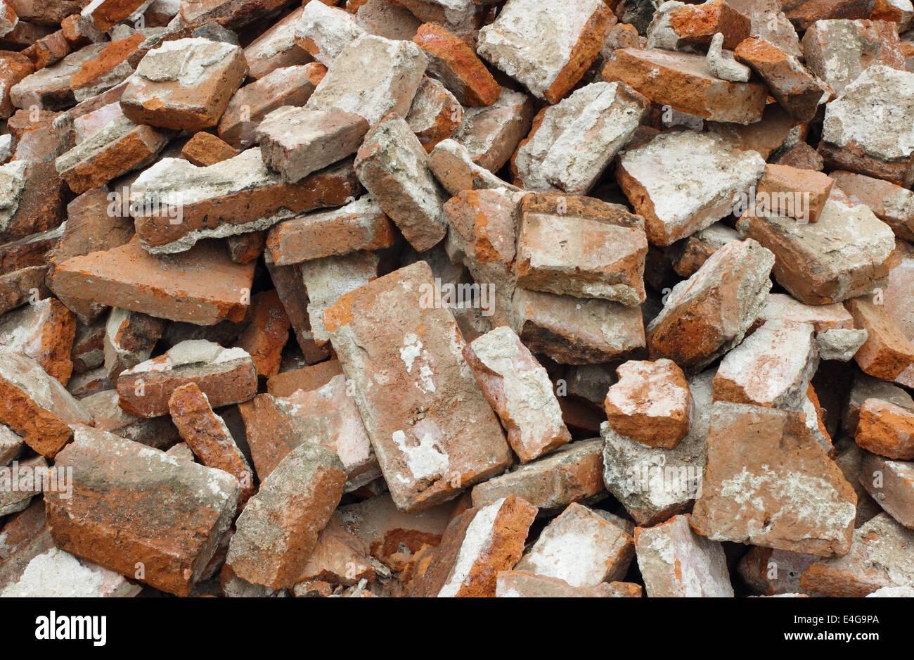 demolished brick wall - Stock Image