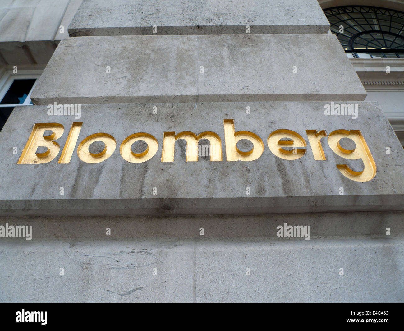 Bloomberg sign building London UK  KATHY DEWITT - Stock Image