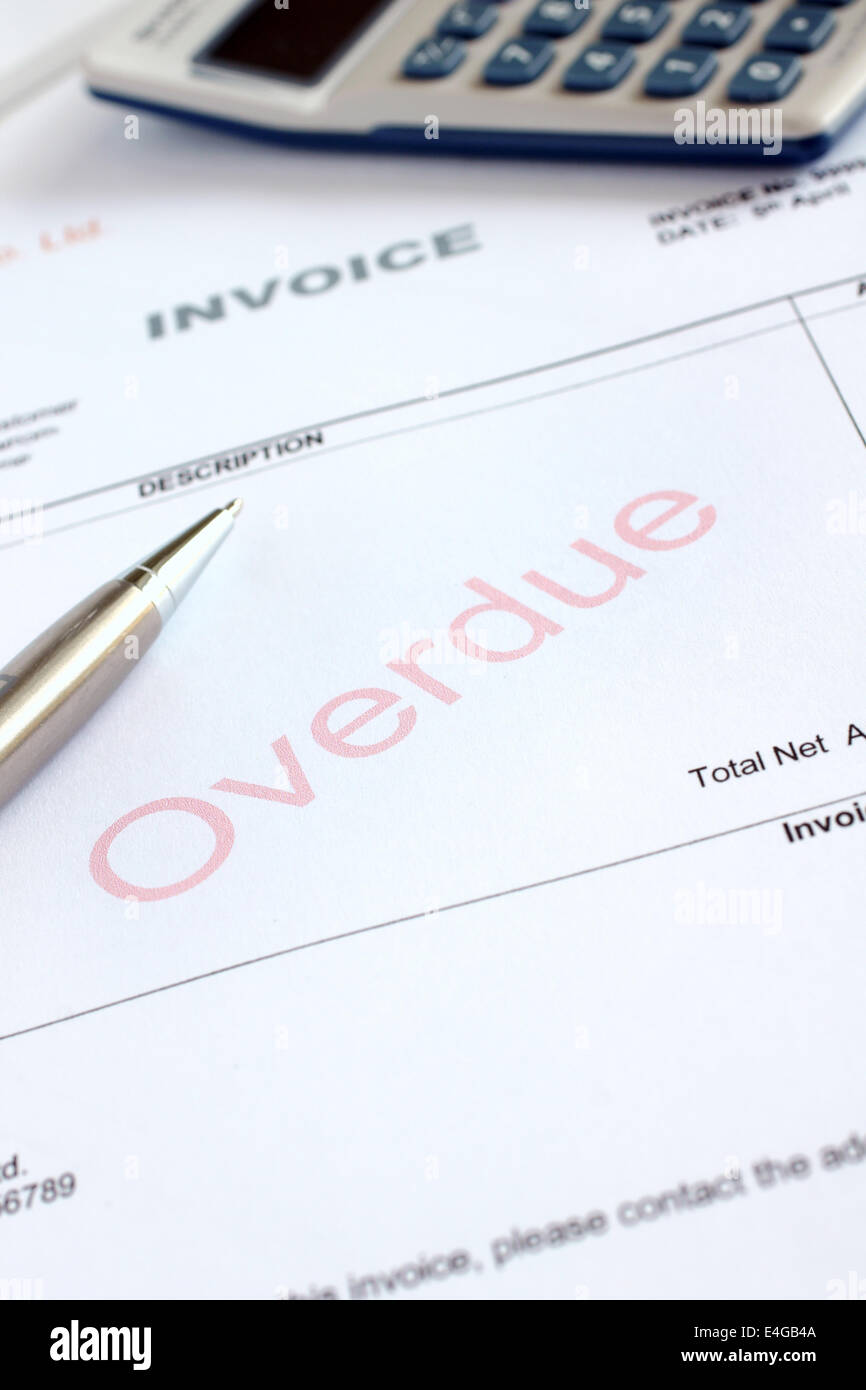 Overdue Invoice with overdue notification in red - Stock Image