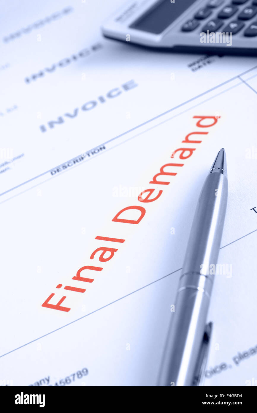 Overdue Invoice with final demand notification in red - Stock Image