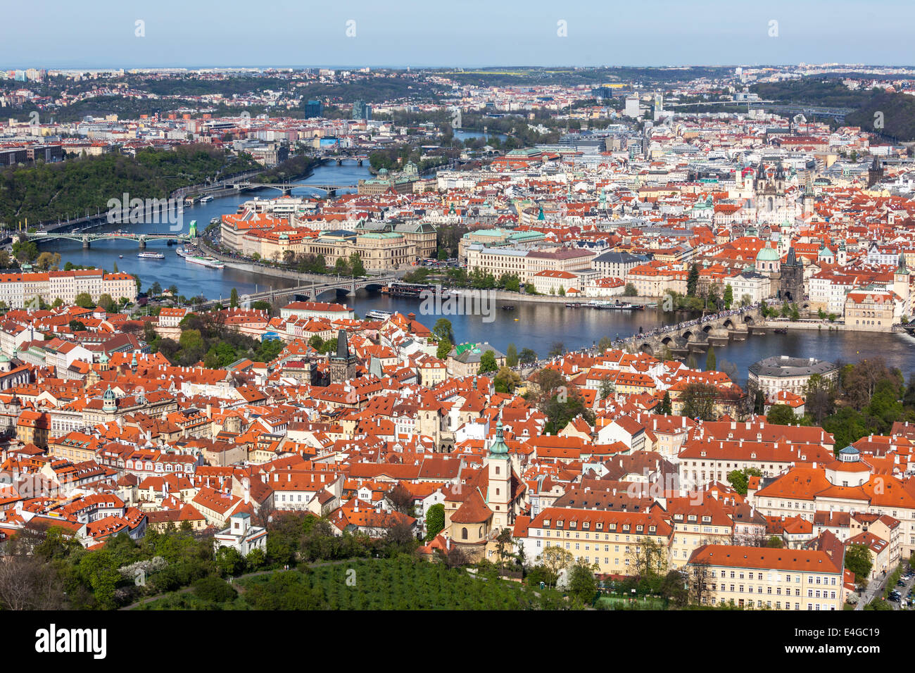 Aerial view of Charles Bridge over Vltava river and Old city from Petrin hill Observation Tower. Prague, Czech Republic - Stock Image