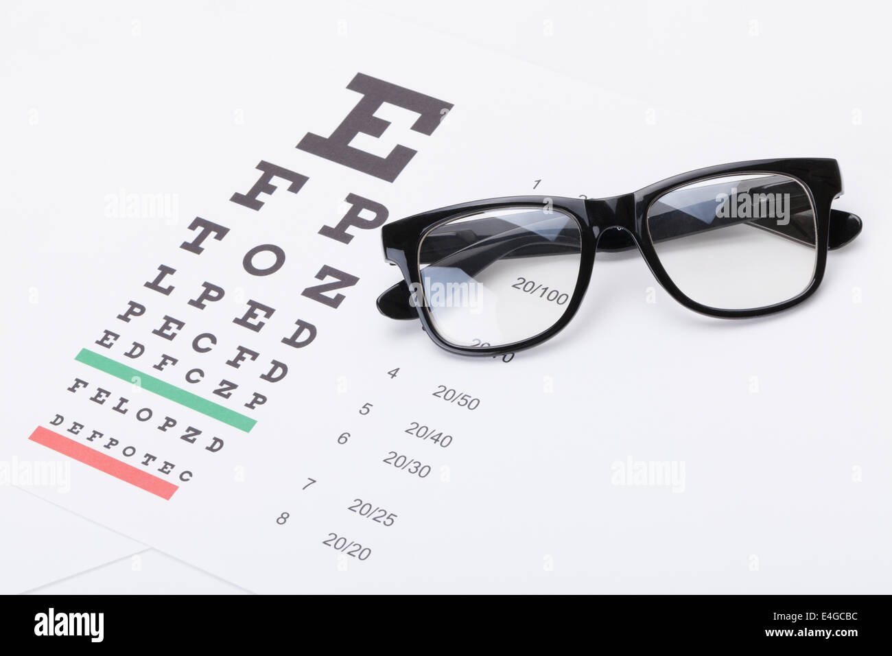 Table for eyesight test with glasses over it - studio shot Stock Photo