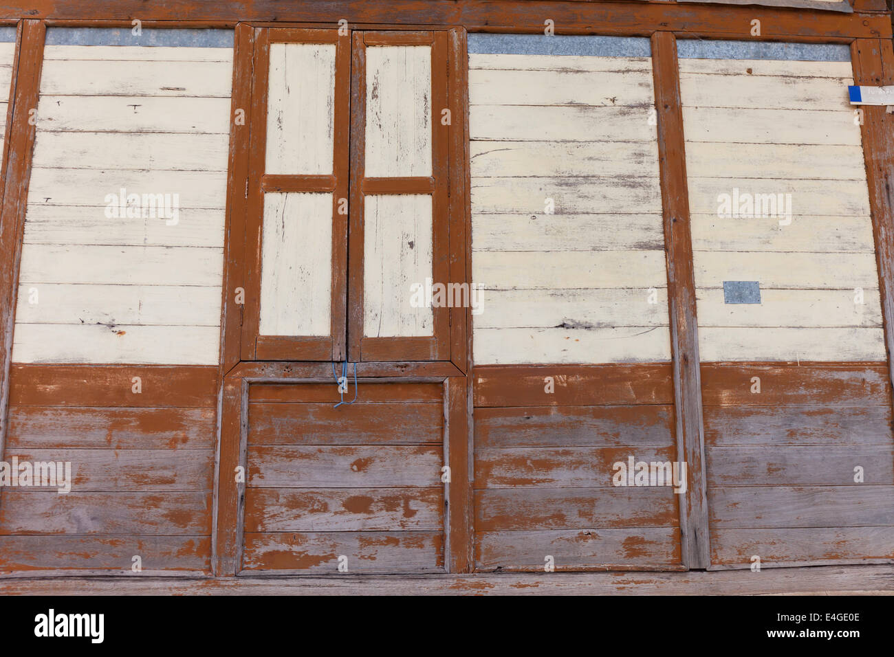 Old Shabby Wooden Planks with cracked color Paint, background - Stock Image