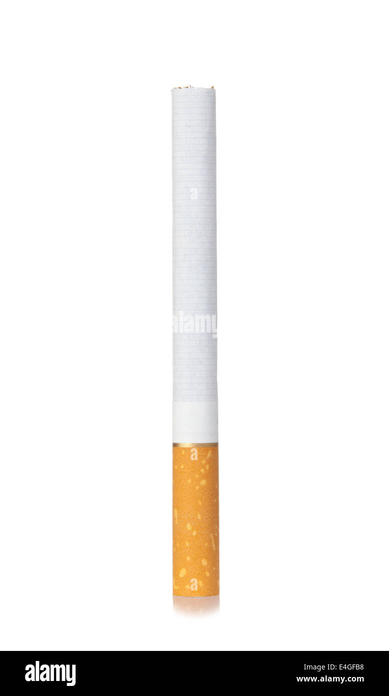 One unlit cigarette isolated on white background - Stock Image