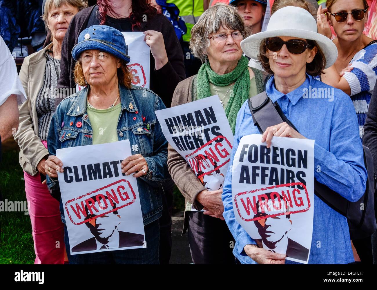Elderly women protesting against the Australian government policies in Hobart Tasmania - Stock Image