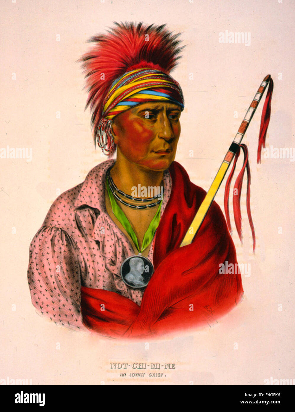 Not-Chi-Mi-Ne an Ioway chief - Not-Chi-Mi-Ne, head-and-shoulders portrait, facing right, wearing earrings and a - Stock Image