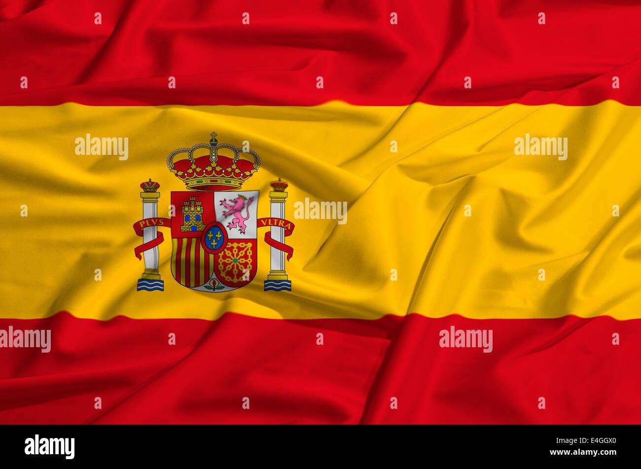 Spain flag on a silk drape waving - Stock Image