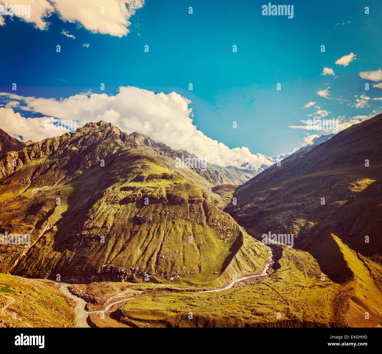 Vintage retro effect filtered hipster style travel image of Himalayan valley in Himalayas. Lahaul valley, Himachal - Stock Image