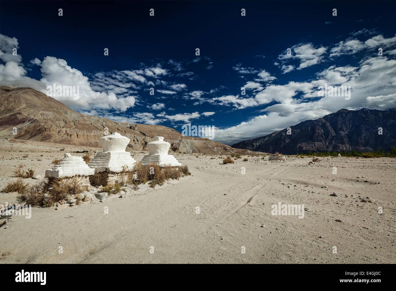 Chortens (Tibetan Buddhism stupa) in Himalayas. Nubra valley, Ladakh, India - Stock Image