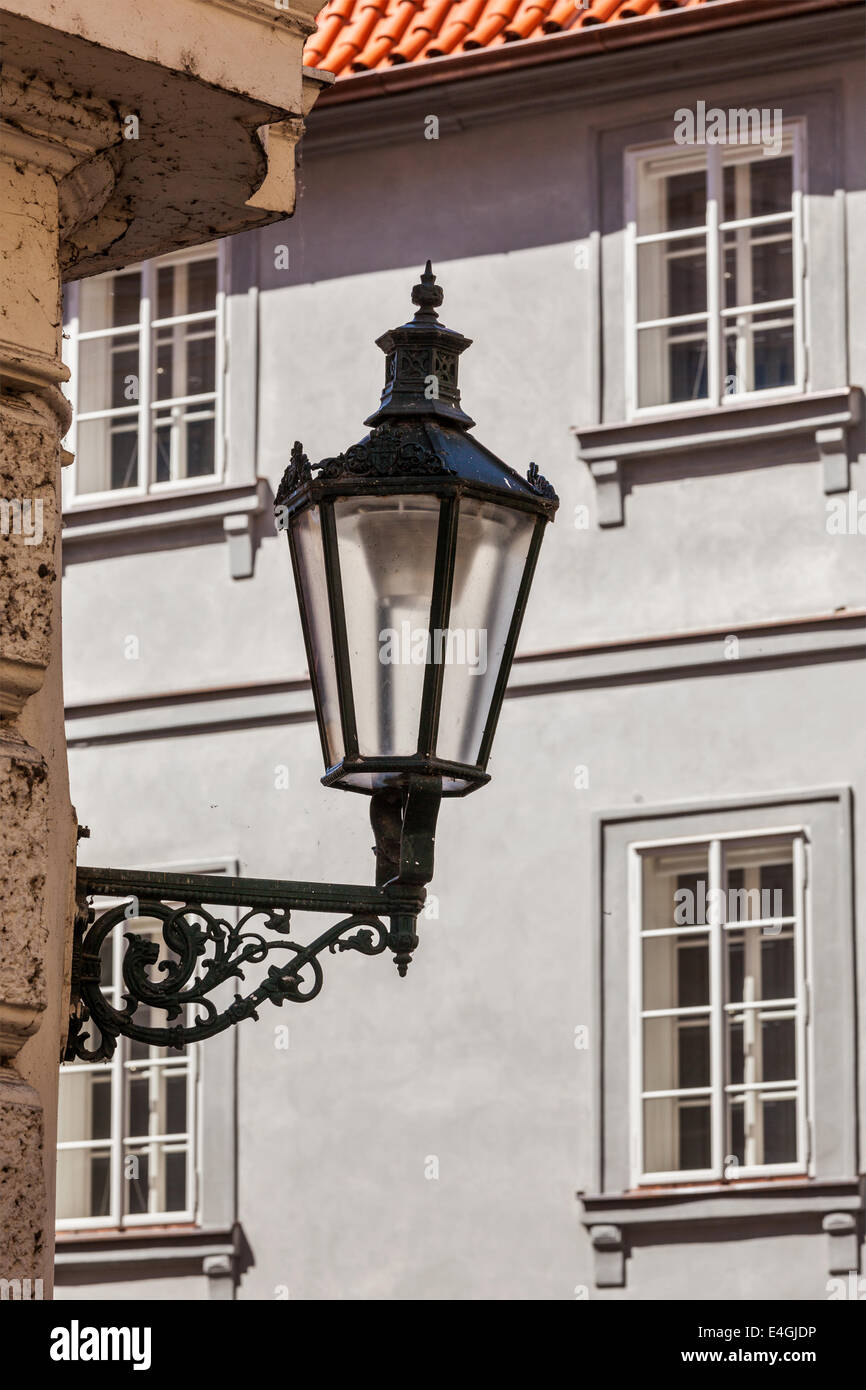 Old street lamp in Prague street, Czech Republic - Stock Image