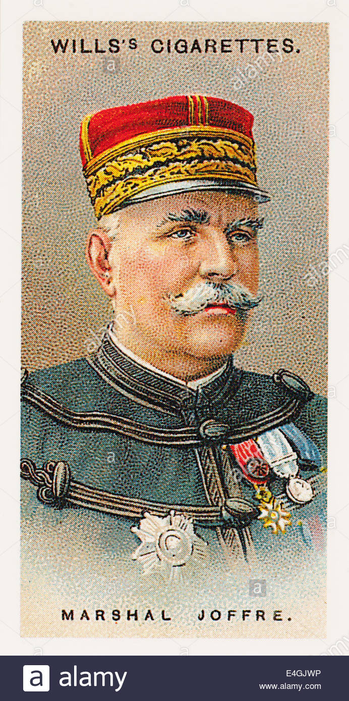 Wills cigarette card Marshal Joseph Jacques Césaire Joffre 1852-1931. EDITORIAL ONLY - Stock Image