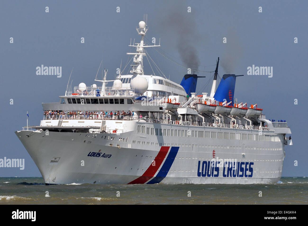 1968 built cruiseship Louis Aura inbound for Travemünde Ostpreussenkai. - Stock Image