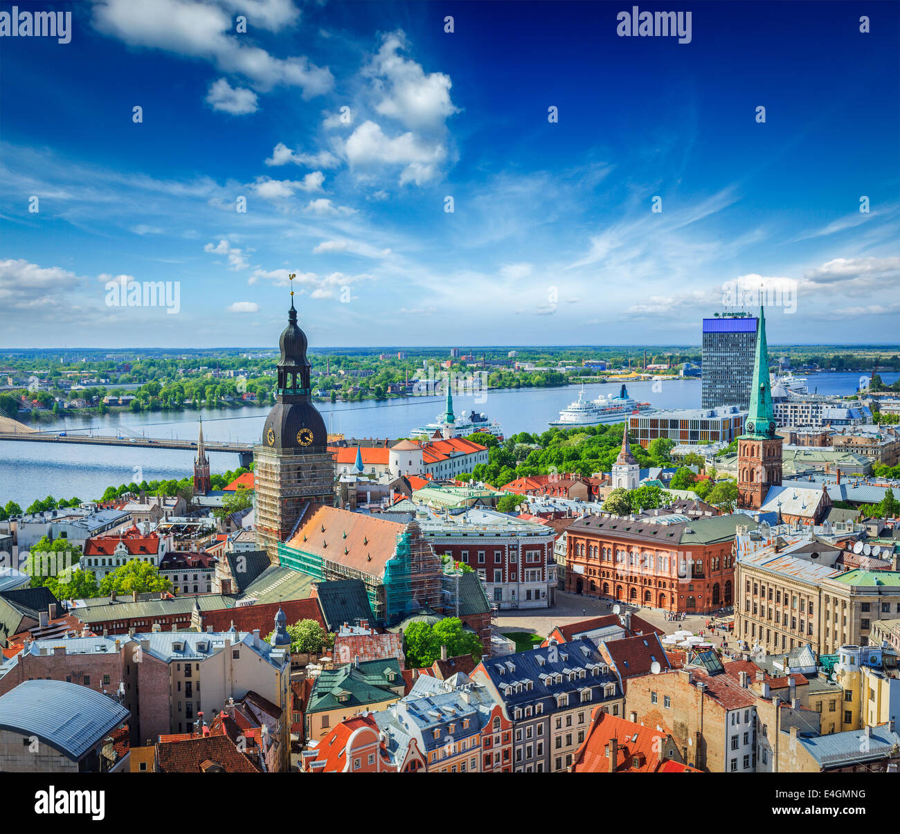 Aerial view of Riga center from St. Peter's Church, Riga, Latvia - Stock Image