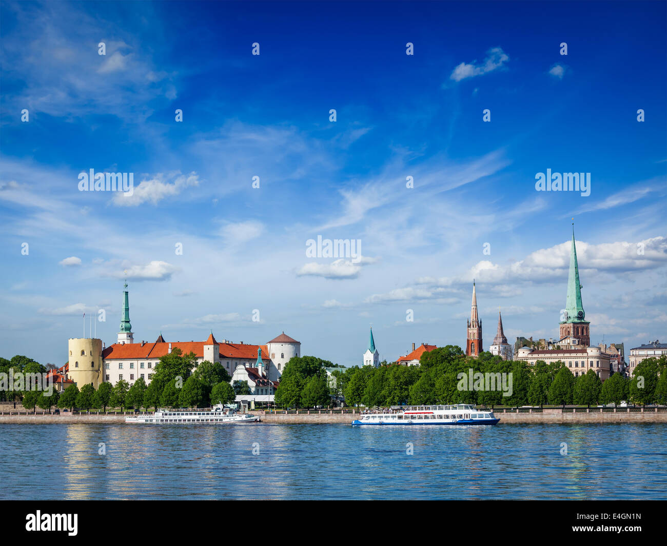 View of Riga over Daugava river: Riga Castle, St. James's Cathedral, St. Peter's Church. Riga, Latvia - Stock Image
