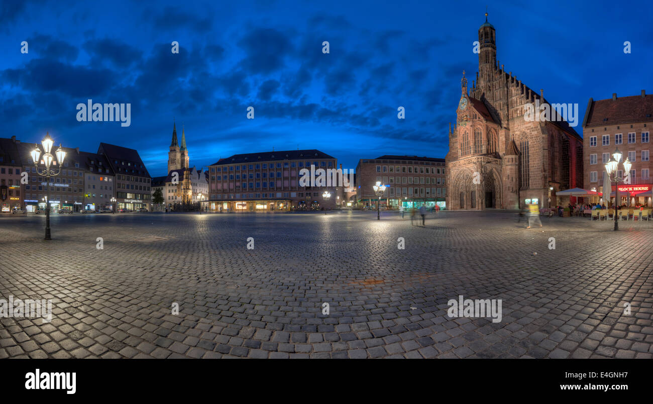 The Hauptmarkt in Nuremberg with the Frauenkirche on the right. Stock Photo