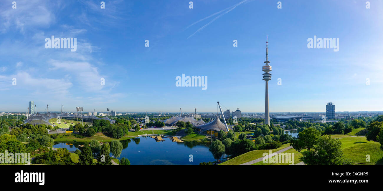 View of the Olympic Stadium in Munich, Olympic Tower, BMW Tower - Stock Image