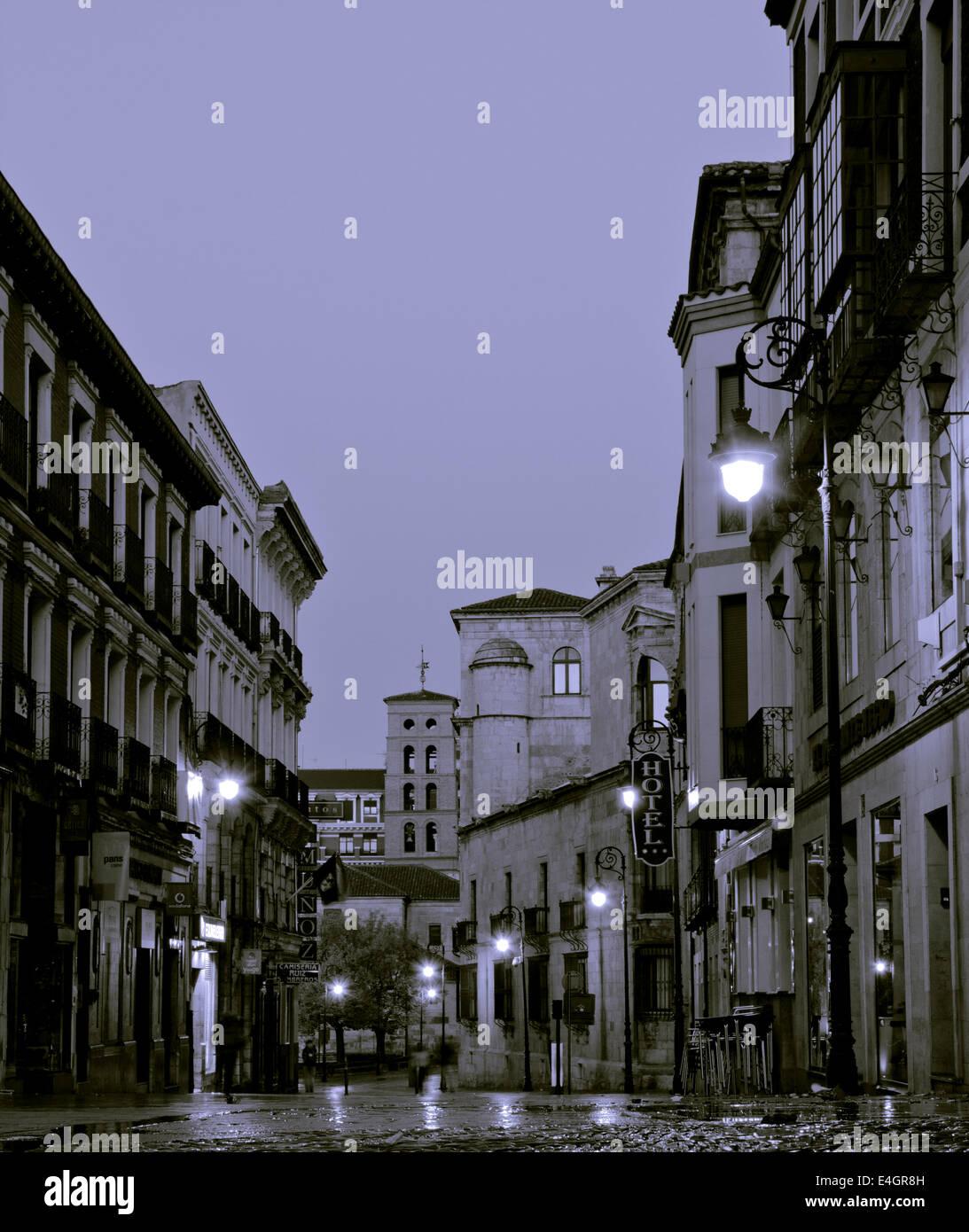 León, Spain, Great walk of St. James, Jakobsweg, Camino de Santiago, Morning hours, Black and white - Stock Image
