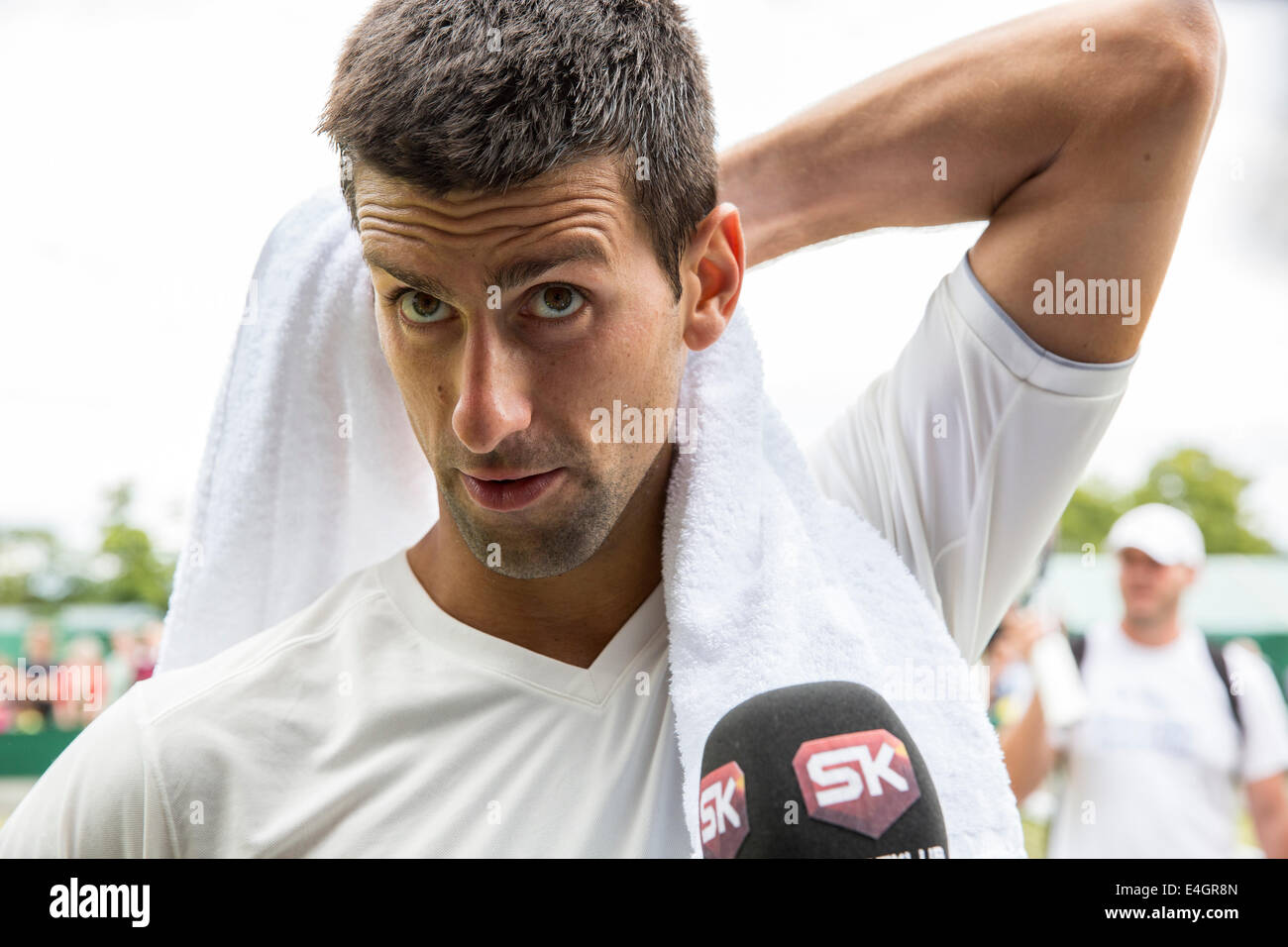 Novak Djokovic practices on Court no.4  The Championships Wimbledon 2014 The All England Lawn Tennis & Crocquet - Stock Image