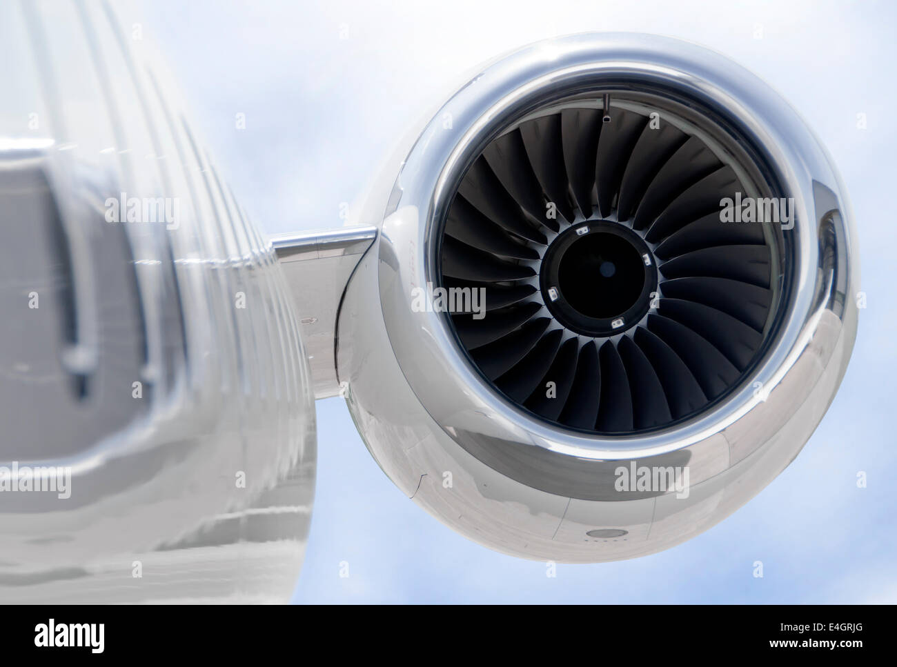Jet Engine closeup on a modern private jet airplane - Bombardier Global Express - Stock Image