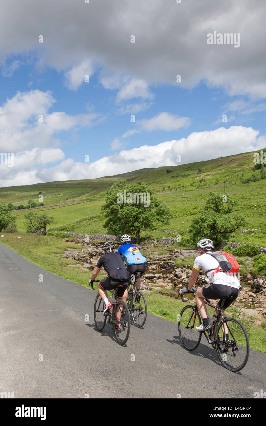 Cyclists in Wharfdale in the Yorkshire Dales National Park, North Yorkshire, England, UK - Stock Image