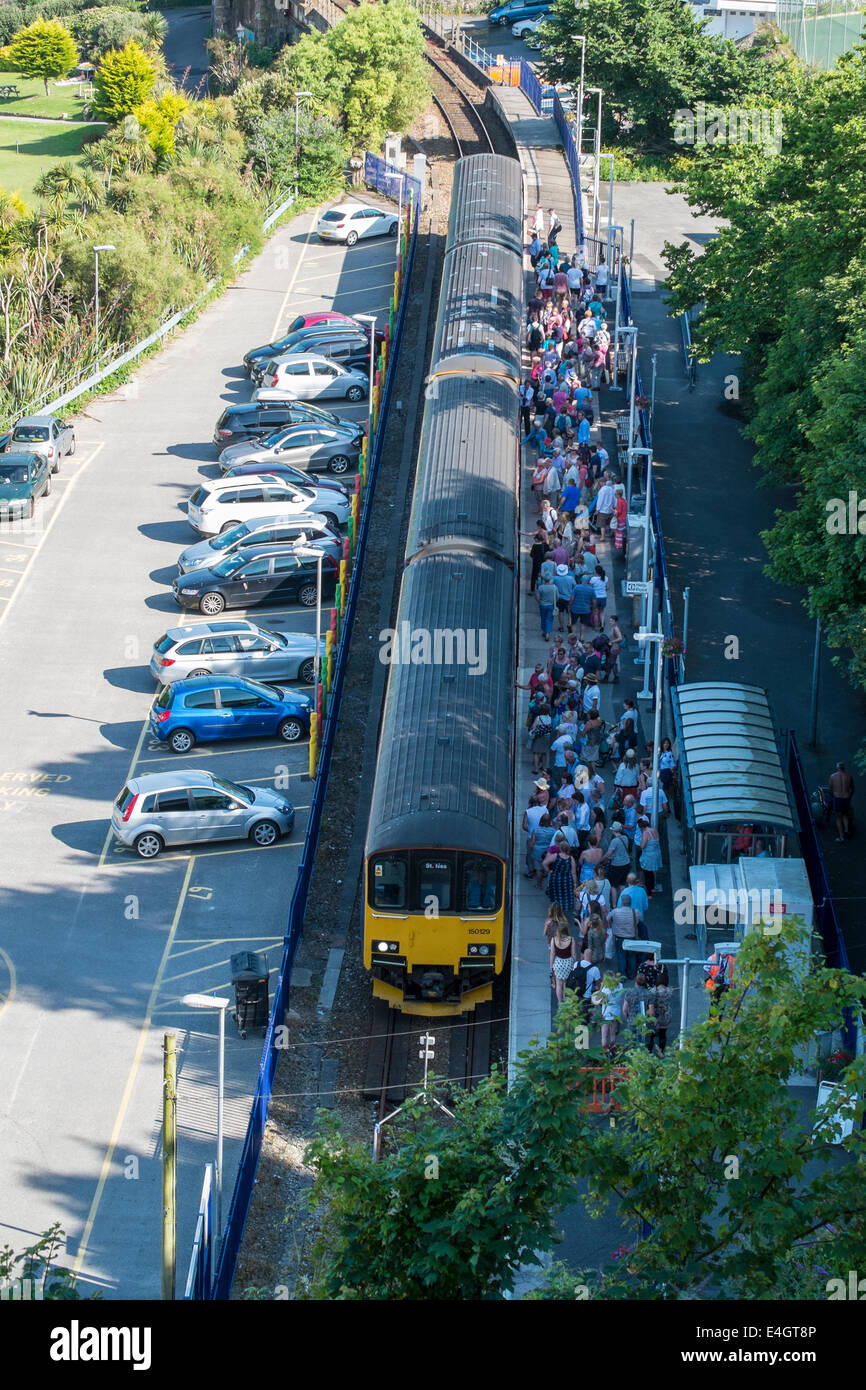 The busy local train line into St Ives Cornwall - Stock Image