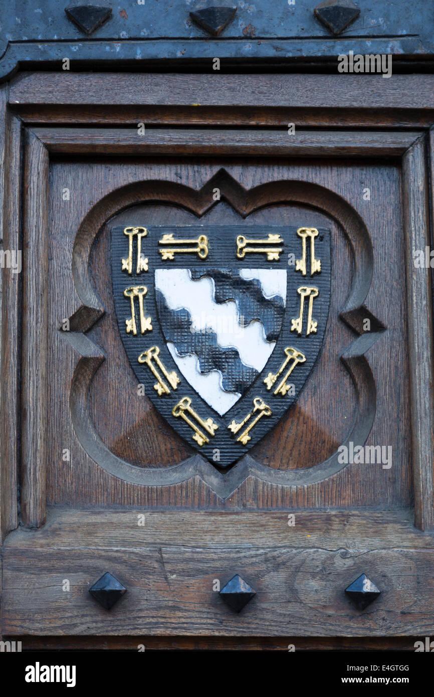 UK, Oxford, Exeter College University blazer badge / coat of arms. - Stock Image