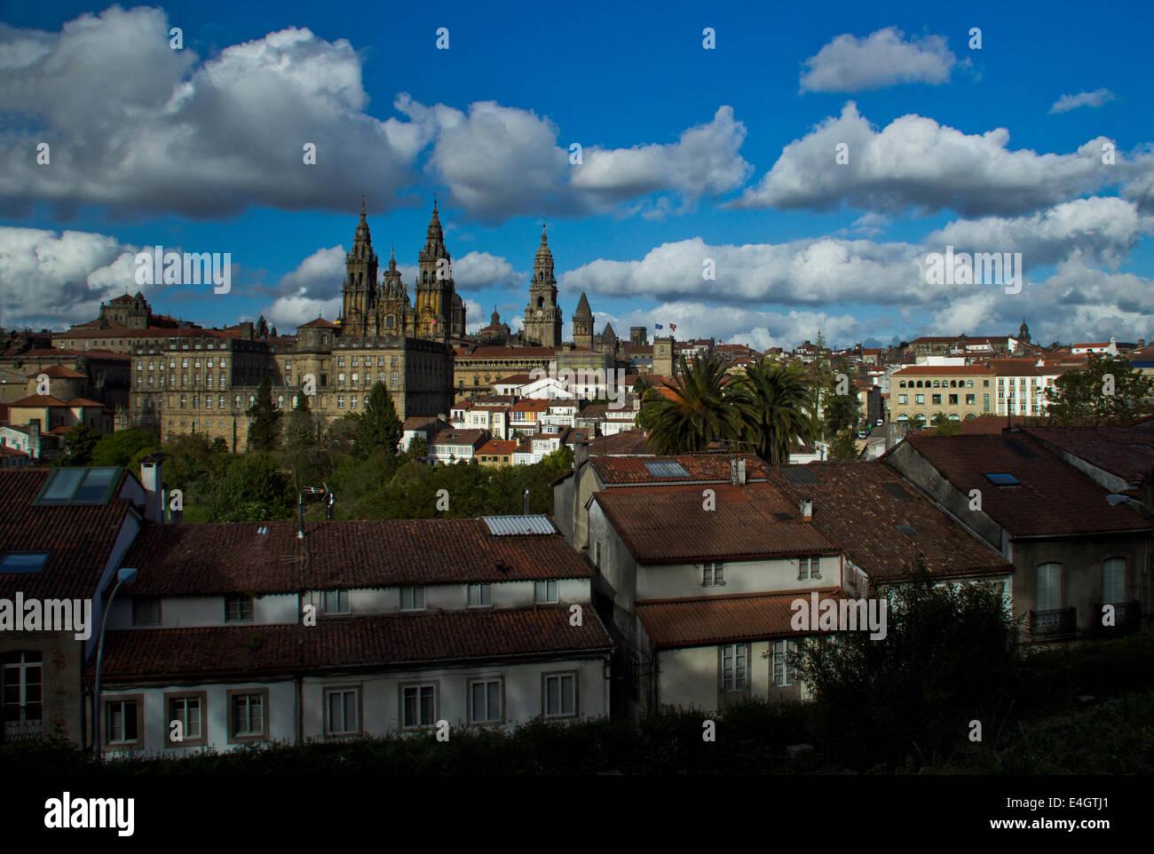 Cathedral Santiago de Compostela - Great walk of St. James, Jakobsweg, Camino de Santiago - Stock Image