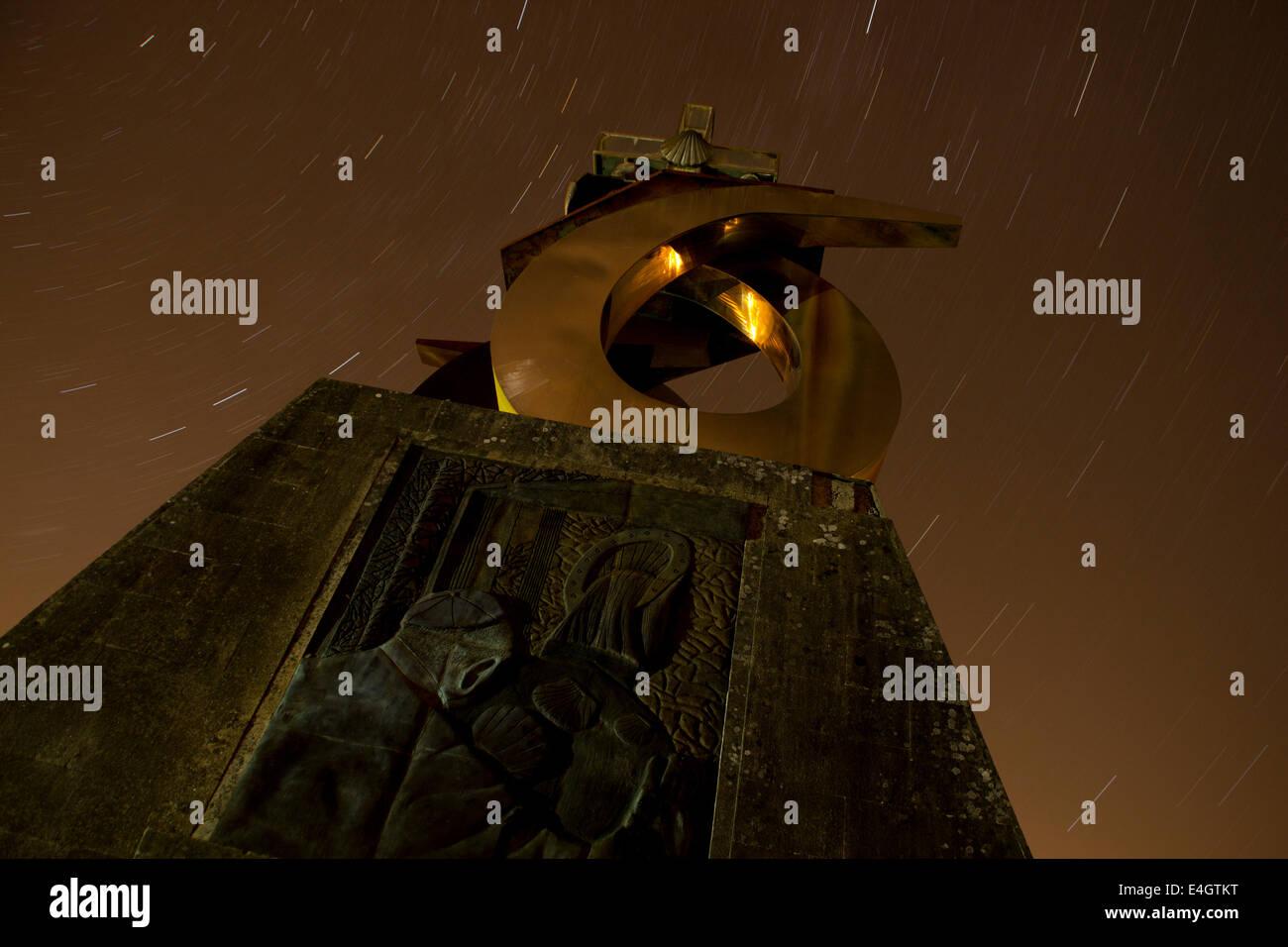 Monto do gozo at night - Great walk of St. James, Jakobsweg, Camino de Santiago, Spain - Stock Image