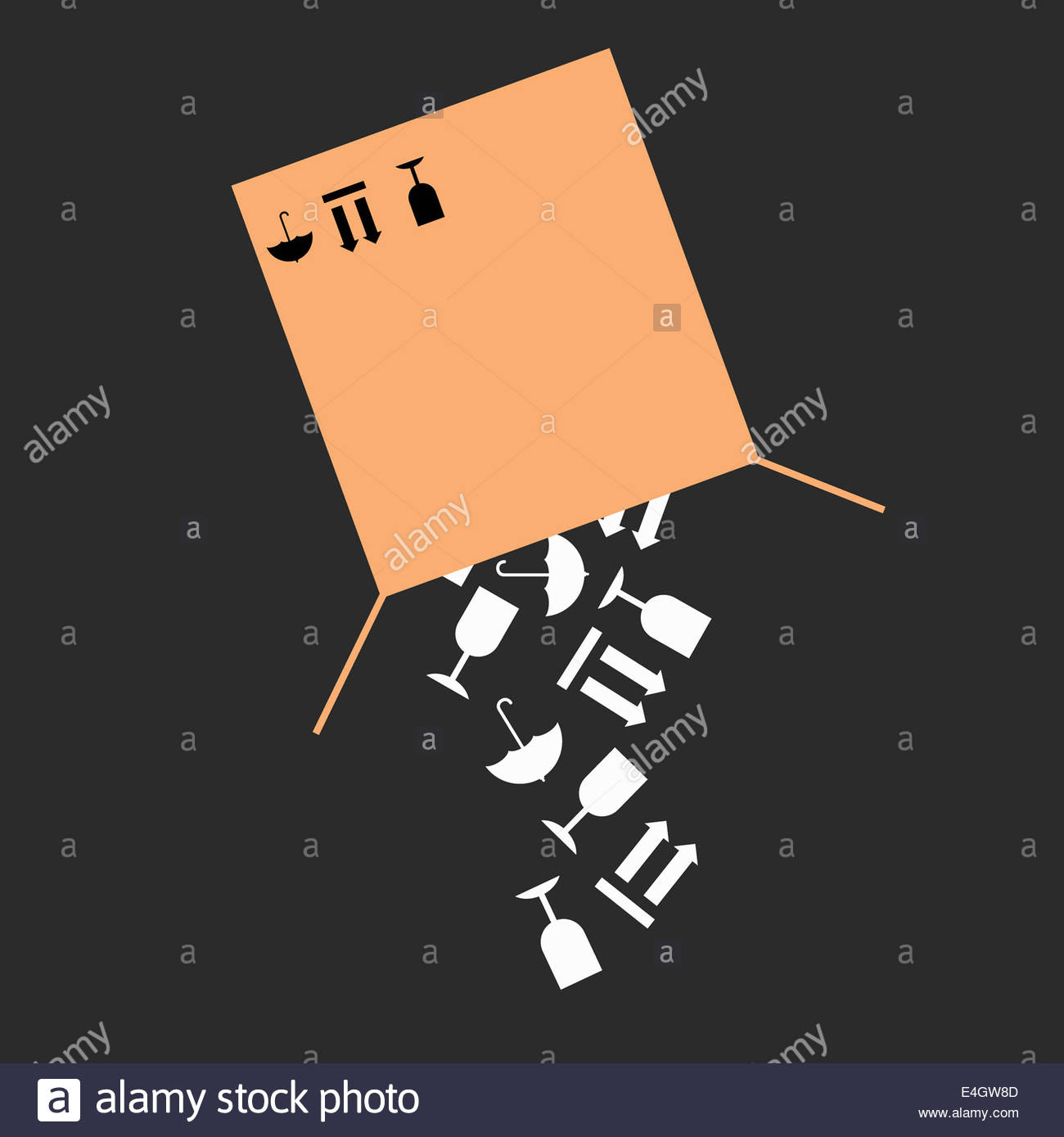 Fragile warning packaging symbols falling from cardboard box - Stock Image