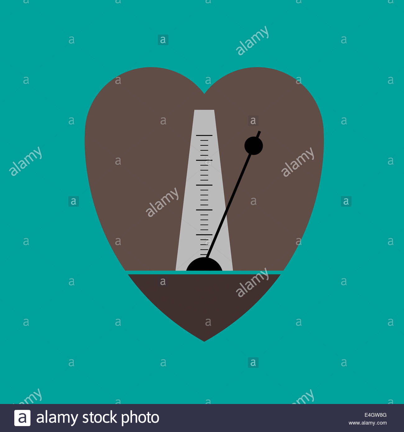 Metronome in heart shape - Stock Image