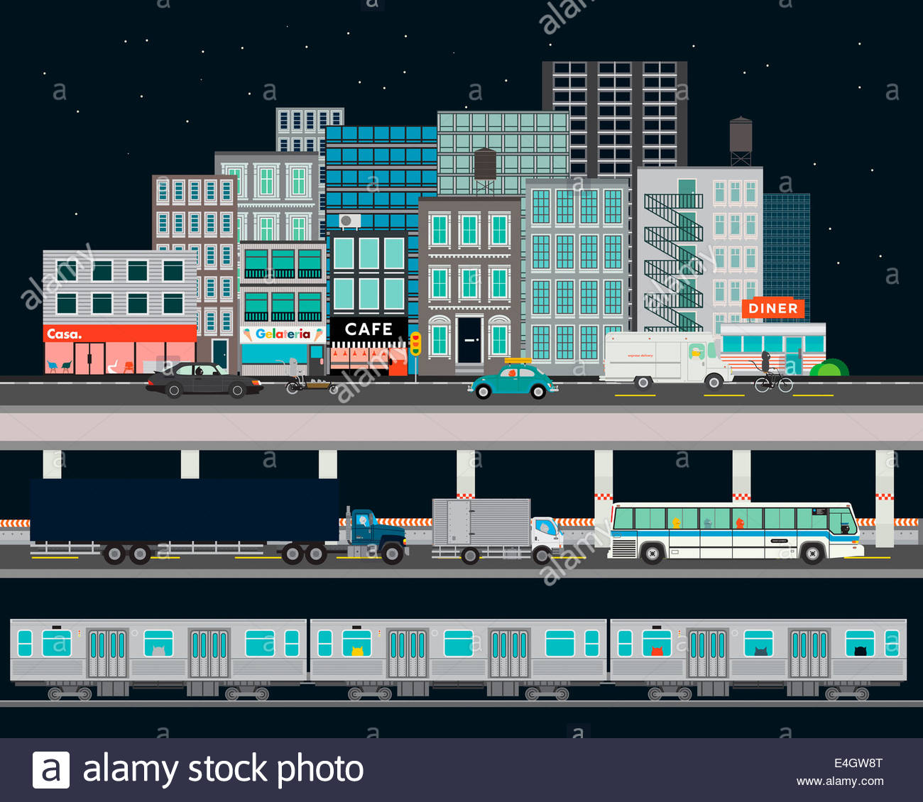City street with various modes of transport - Stock Image