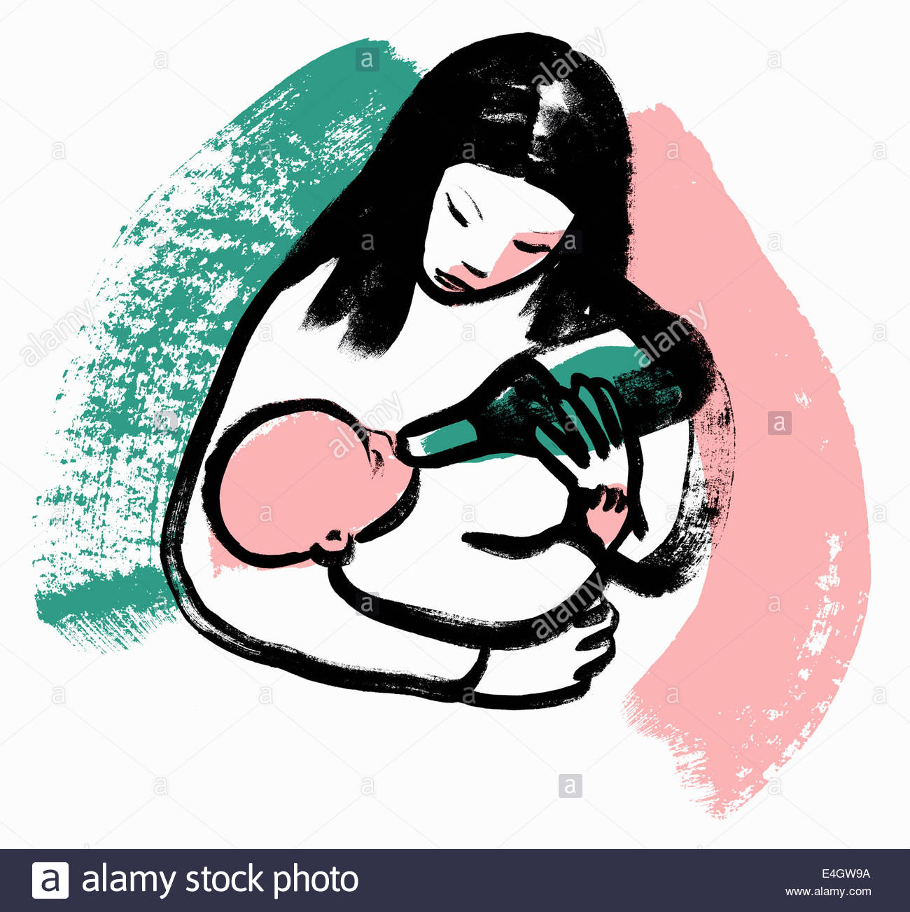 Woman feeding baby from wine bottle - Stock Image