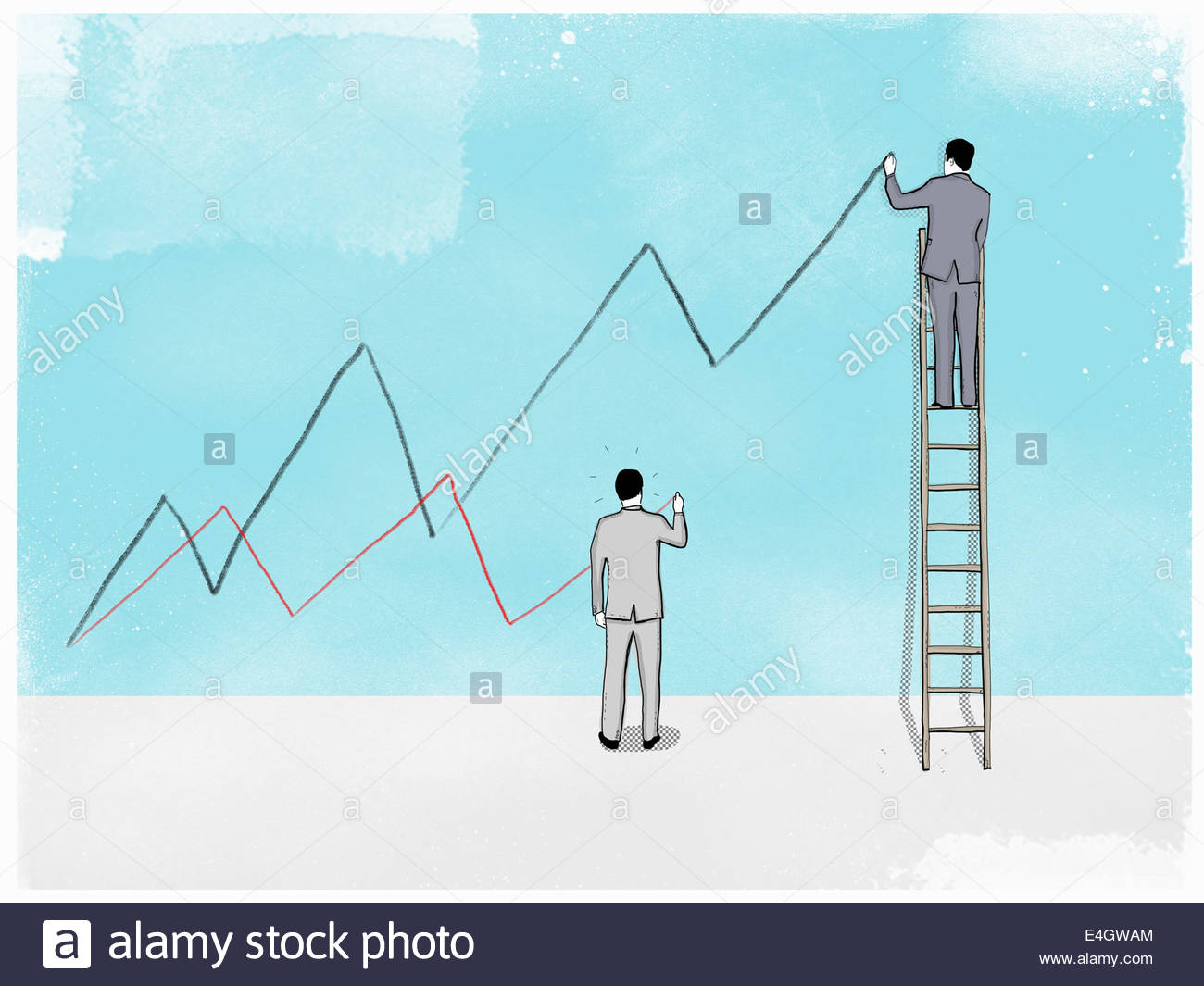 Businessmen on ladder and ground drawing high and low line graphs - Stock Image