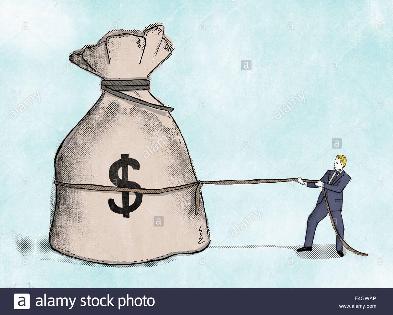 Businessman pulling at rope around large dollar sign money bag - Stock Image