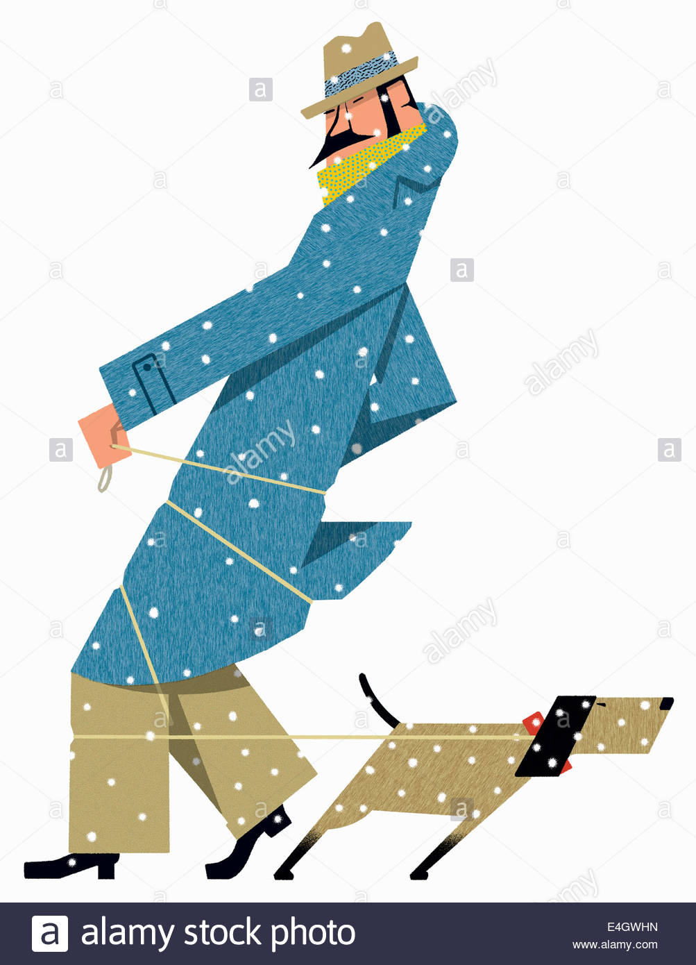 Dog tugging on leash wrapped round man in snow - Stock Image