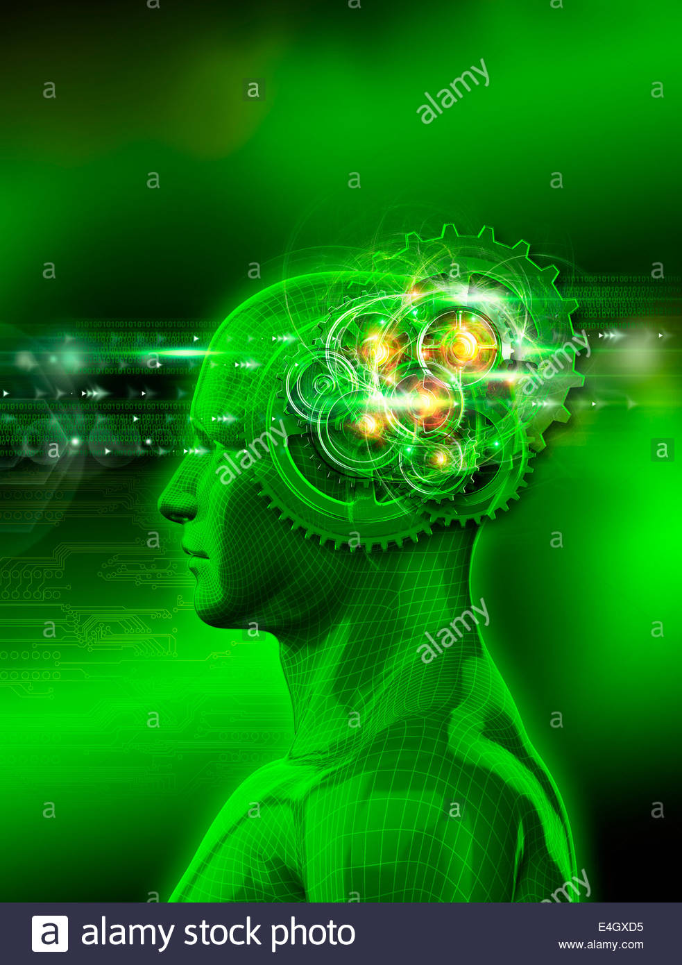 Model of man with sparks and spinning cogs inside head processing binary code Stock Photo