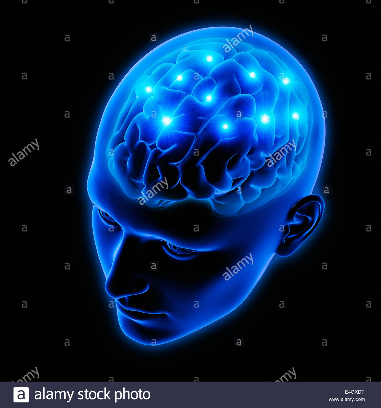 Sparks from human brain in blue transparent head - Stock Image